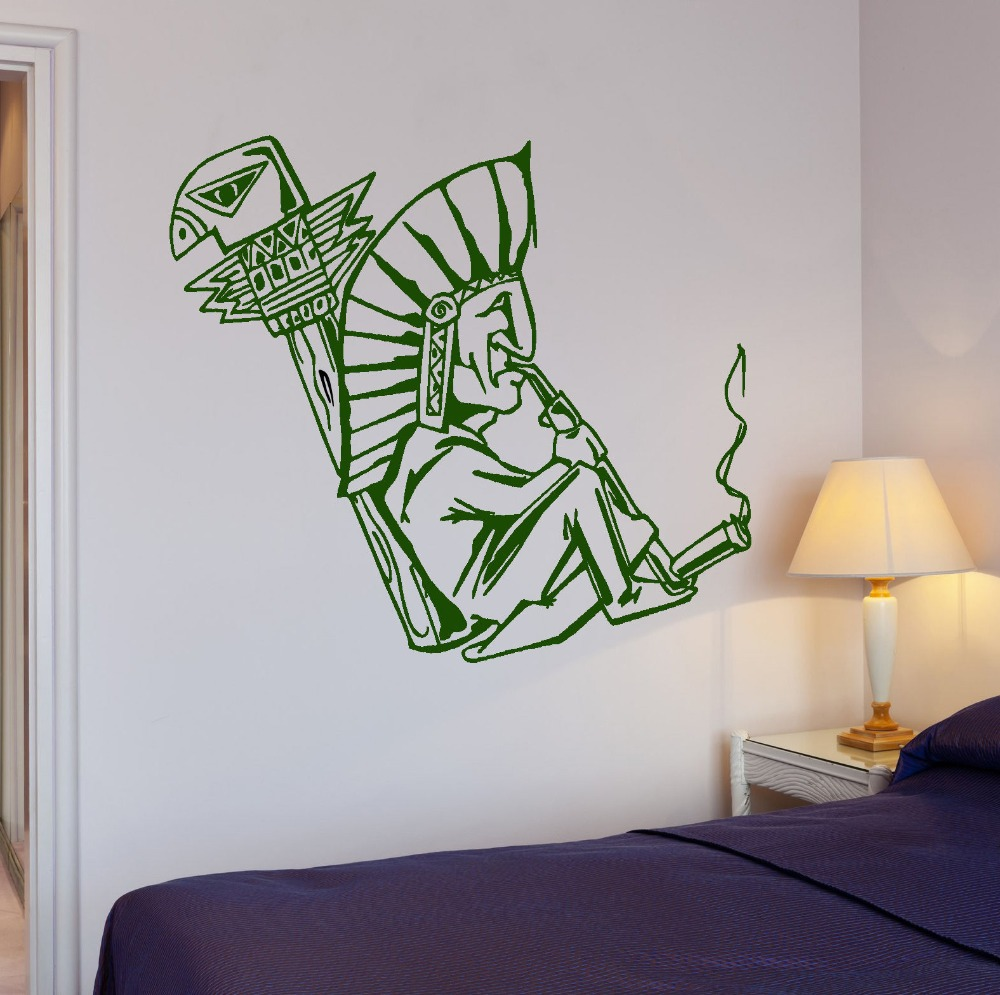 Shaman Smokes Weed Hippie Person Wall Sticker home decoration Vinyl Wall Decal wallpaper wall art mural