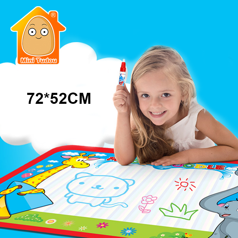 Minitudou 72x52cm Kids Water Drawing Painting Writing Toys Doodle Aquadoodle Mat Magic Pens Children Water Drawing Board Pen(China (Mainland))