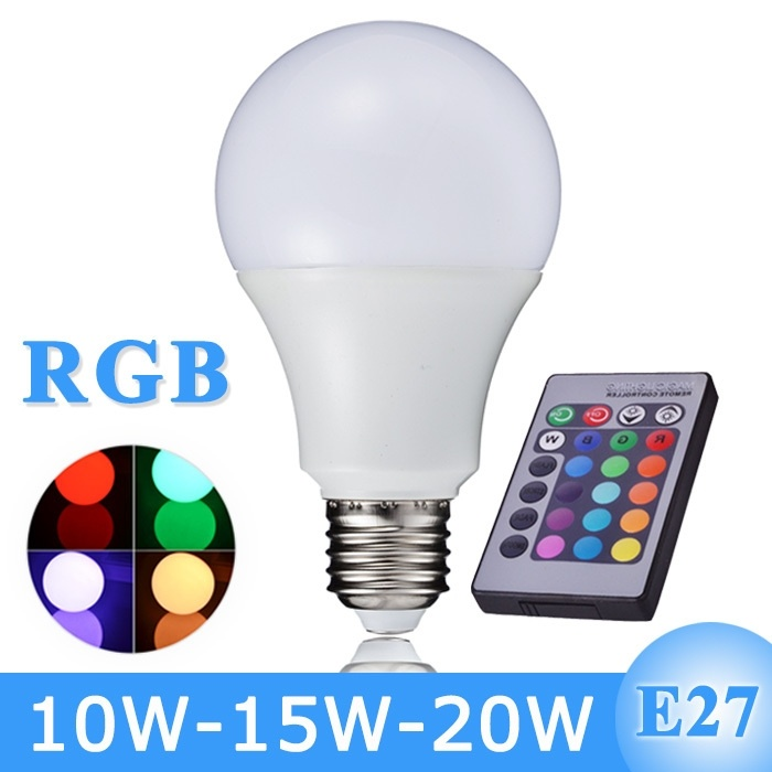 New Arrival RGB Led Bulb Light E27 110V 220V Led RGB Lamp 10W 15W 20W With Remote Control A65 A70 A80(China (Mainland))