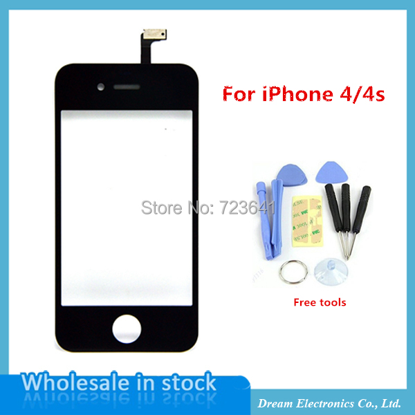 Black Front Glass Lens + Touch Screen Digitizer For iPhone 4 4S 4G Replacement Outer Touch Panel Lcd Screen Case + Opening Tools(China (Mainland))