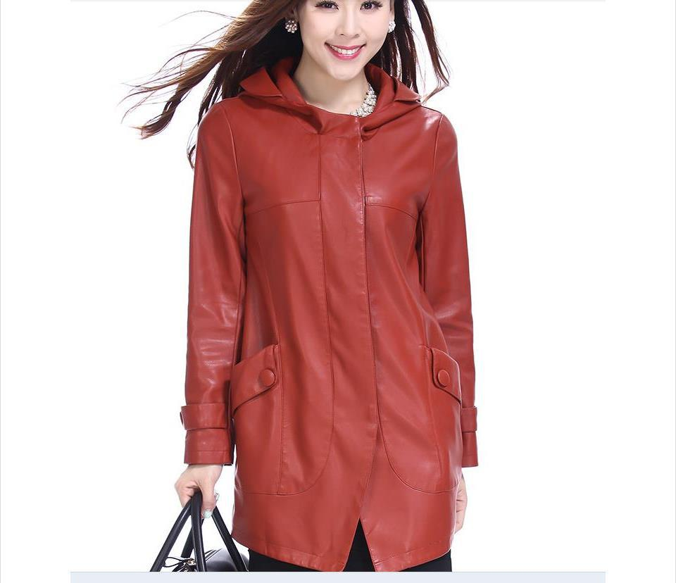 2014 spring new high-grade ladies coat female Korean Slim leather sheep long sections / L-4XL - Fashion Leather Clothes . store