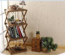 Simple modern four-fold wood showy plant rack shelving rack storage rack debris racks meaty living room 90*31*41cm(China (Mainland))