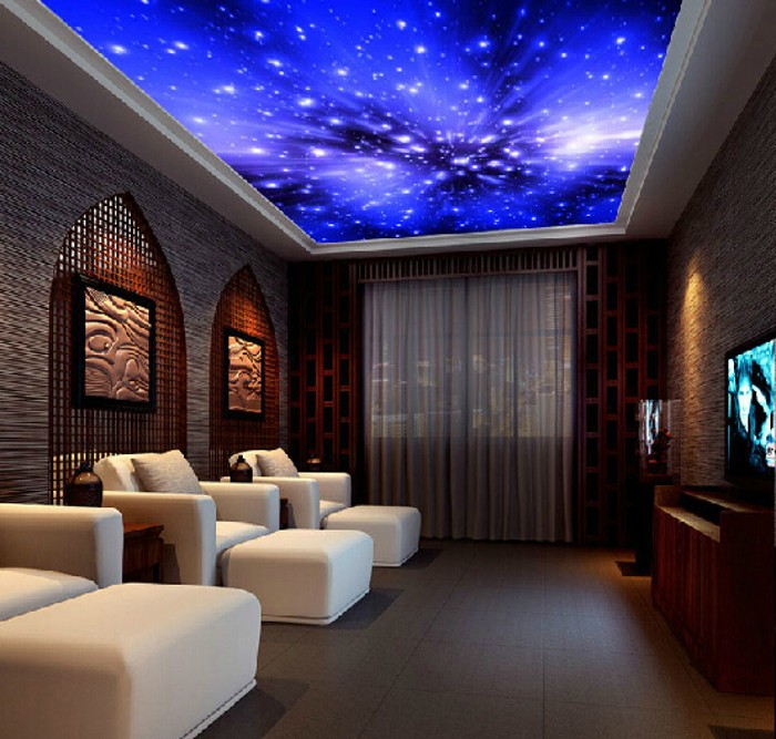 Living room ceiling blue wallpaper ktv parlor fantasy Blue wallpaper for living room