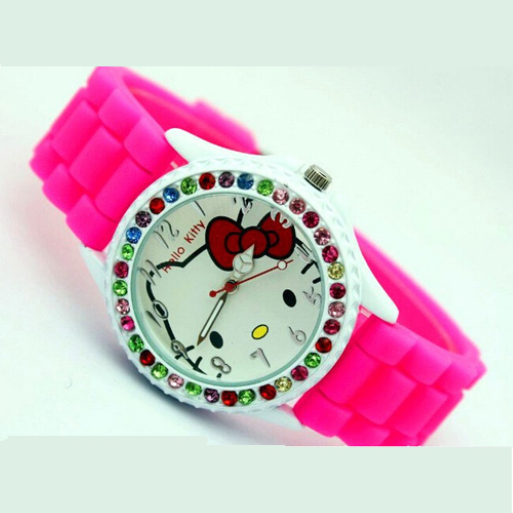 Pretty Hello Kitty Girls Cartoon Watches Crystal Rhinestone Quartz Silicone Wristwatch infantil Baby Toys Clock Candy Color(China (Mainland))