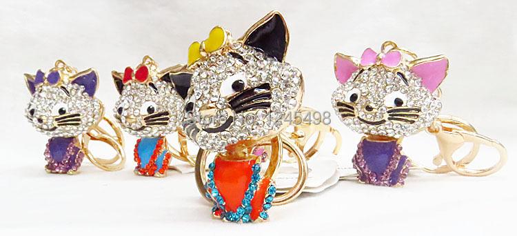 12pcs/lot wholesale Crystal bowknot animal keychain Rhinestone cat key chain bag pendant 4 s shop gifts keychain(China (Mainland))
