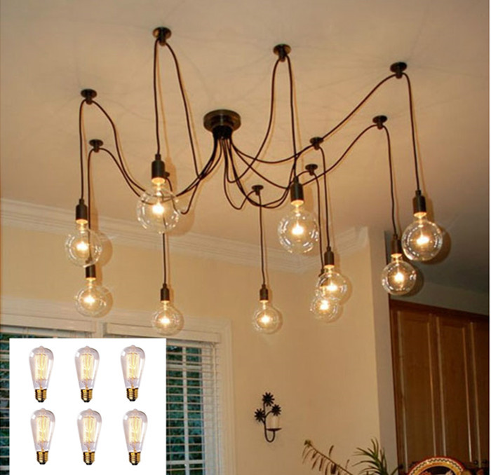 Good Looking Eletrical Wire Pendant Light With 6 heads,E27 Pendant Lamp Edison Vintage Spider Ceiling Lamps For Home+6*E27 Bulb<br><br>Aliexpress