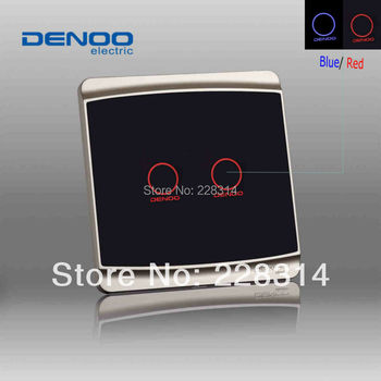 Wholesaler 2013 DENOO Brand Luxury Knight black wall light touch switch, 2 gang 1 way, tempered glass panel with LED indicator