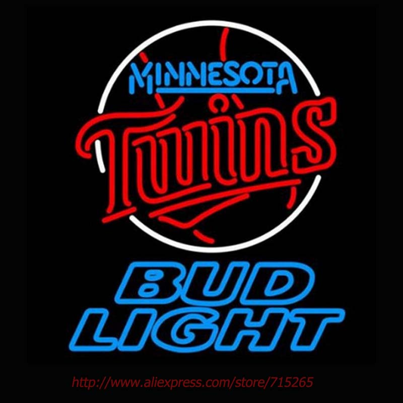 Bud Light Minnesota Twins Neon Signs Handcrafted Neon Bulbs Real Glass Tube Decorate Room Garage Custom Neon Lights Impact 31x24(China (Mainland))