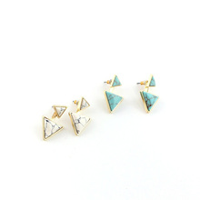 2016 New European and American trade jewelry personalized triangle turquoise Earrings inlaid turquoise Natural stone earrings(China (Mainland))