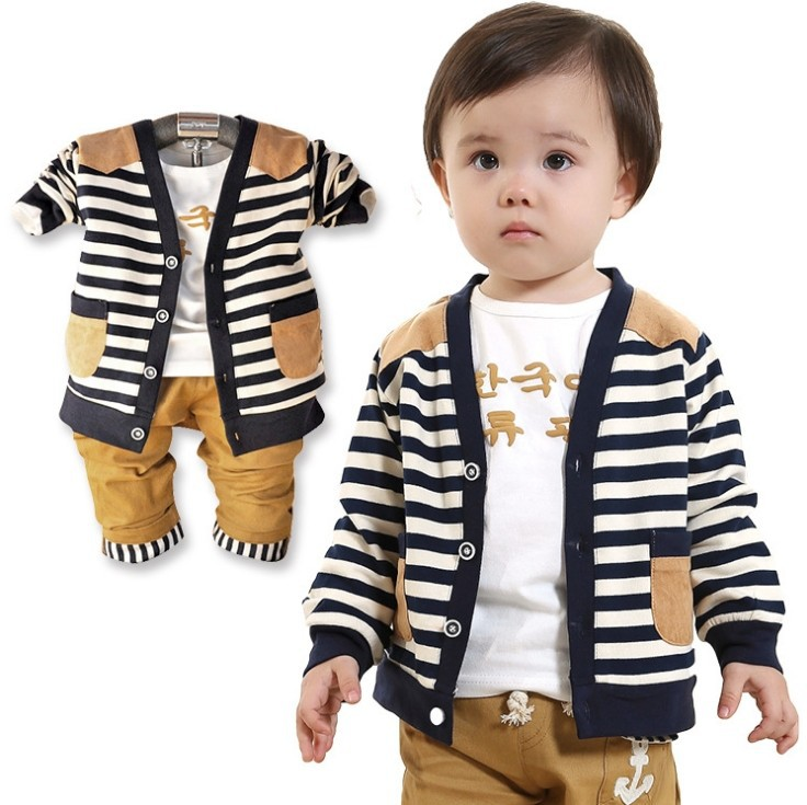baby boy set suits t-shirt+plaid overshirt+pants Autumn Spring children wearing clothes casual kids suit - Online Store 923589 store