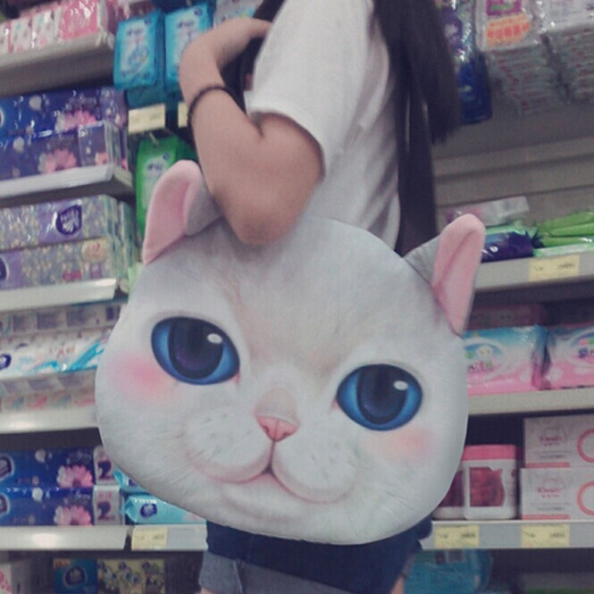 2015 3D Creative Women Handbags Cool Punk Fashion kitty Print Girls Large Shoulder Bags Lovely Cat Women Bag(China (Mainland))