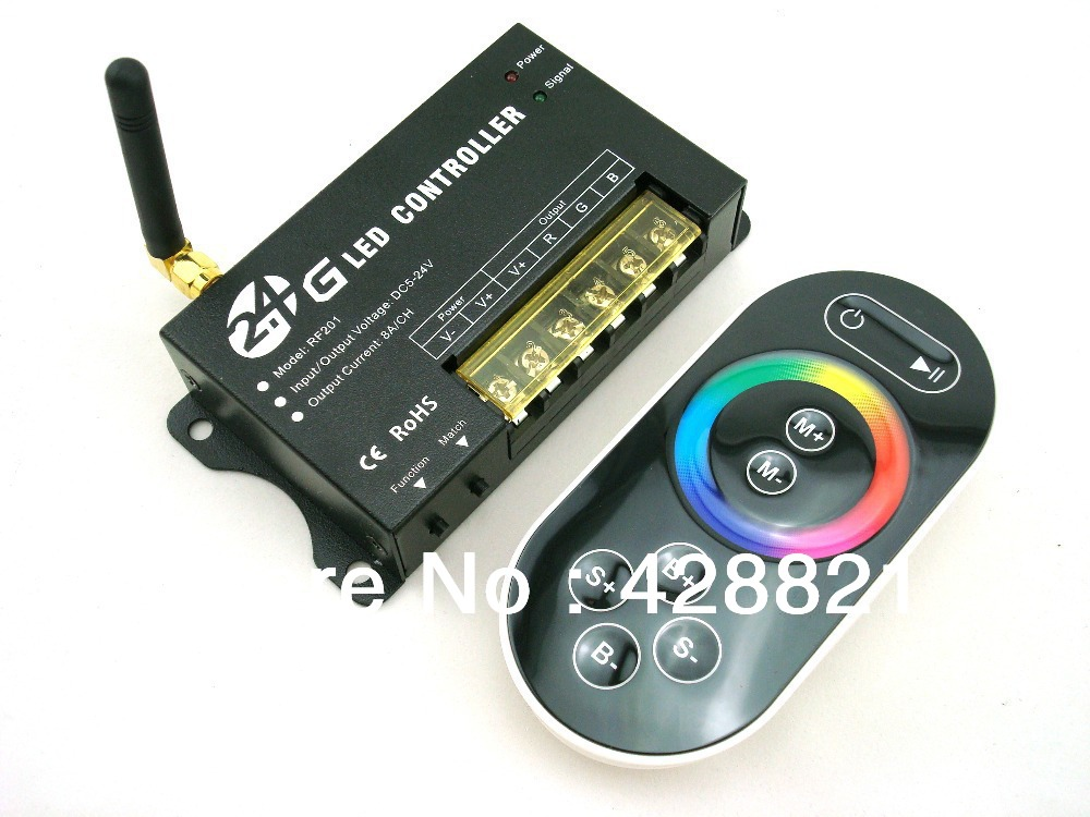 8Keys Wireless 2.4G Full Color Controller DC5-24V 8Ax3Channels RF RGB controller(China (Mainland))