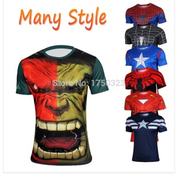 2015 Top Sales Superhero T shirt Tee Superman Spiderman Batman Avengers Captain America Ironman 15 Style Cycling Clothing S-4XL(China (Mainland))
