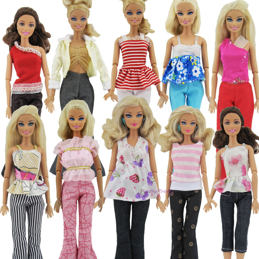 Wholesale 100 Set  Random Decide Handmade Girl Each day Put on Shirt & Trousers Outfit Informal Garments For Barbie Doll Items Child Toys