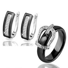 Gesundheit Material Hochzeit Schmuck Sets Für Frauen Klassische Kristall Crown Braut Schmuck Engagement Stud Ohrringe Ringe Hochzeit Sets(China)