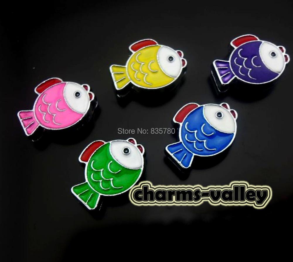 50PCS 8MM Mixed Color Enamel Fish Slide Charms DIY 8mm Wristband Pet Dog Collars(China (Mainland))