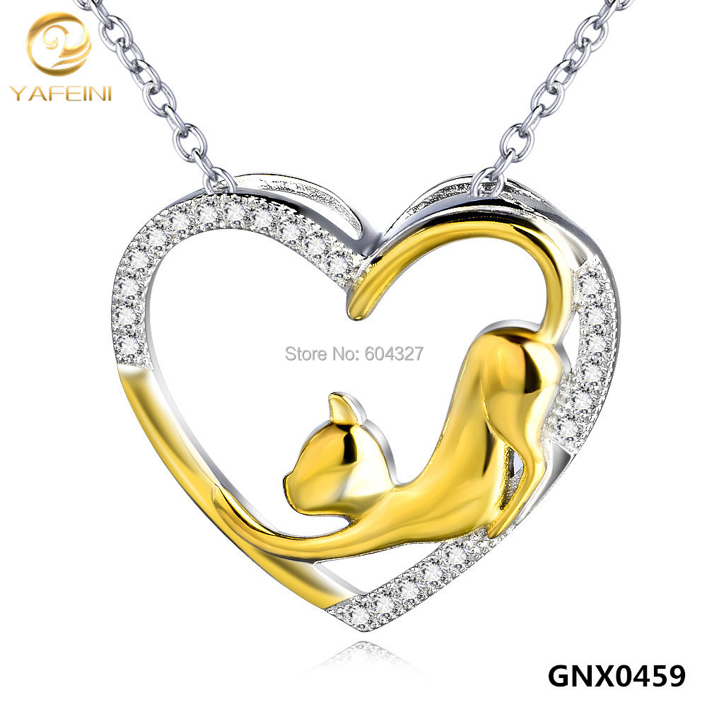 Genuine 925 Sterling Silver Jewelry Gold Cat Necklace Fashion Women Jewelry CZ Heart Pendant Necklace GNX0459(China (Mainland))