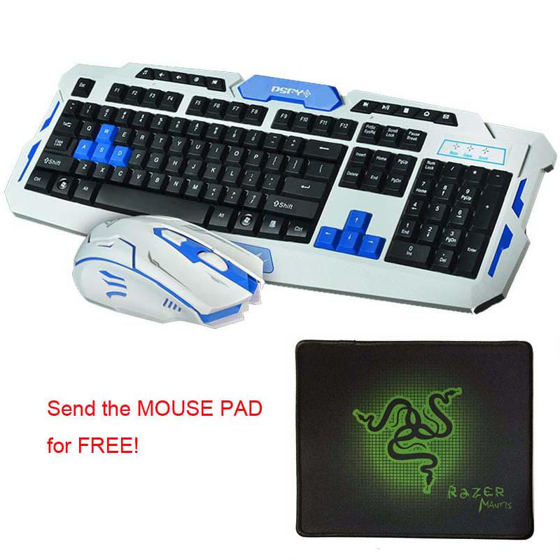 HOT! 2.4G Wireless Gaming Keyboard Mouse Combo Set Optical Waterproof Multimedia Gamer Keyboard Mouse Pad Kit for Laptop PC(China (Mainland))