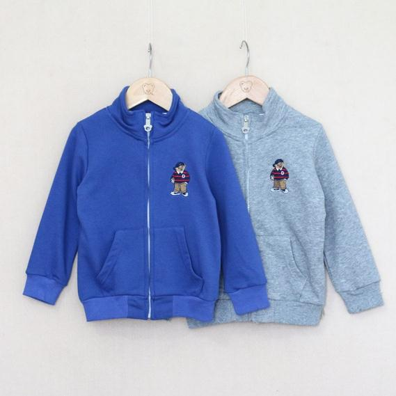 2014 Baby boy jacket gray navy blue long sleeve cartoon bear zipper jacket kids boys jacket children casual jackets 5pcs/lot<br><br>Aliexpress