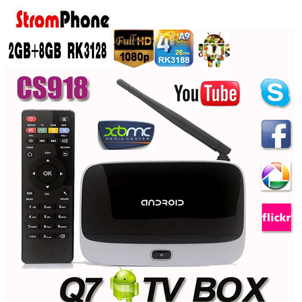 Q7 Android 4.4 TV Box CS918 Full HD 1080P RK3128 Quad Core Media Player 2GB/8GB XBMC KODI Wifi Bluetooth Smart TV Box(China (Mainland))