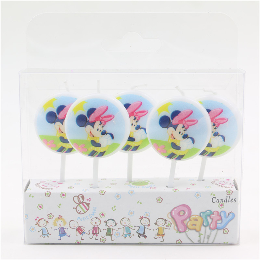 5pcs Pack New Creative Minnie Mouse Decorative Candles Birthday Candles For Cake Decoration