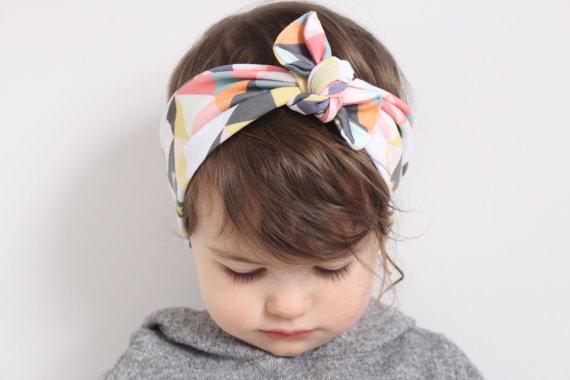 New Style Vintage Knotted Bow Headband Baby Girl Headband Infant Headband Baby Turban Cotton Jersey Blend Knit Headband(China (Mainland))