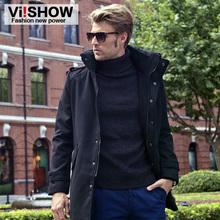Viishow 2016 HOT new brand long men's trench coat zipper winter overcoats Plus size men wool coat winter windproof warm outwear(China (Mainland))