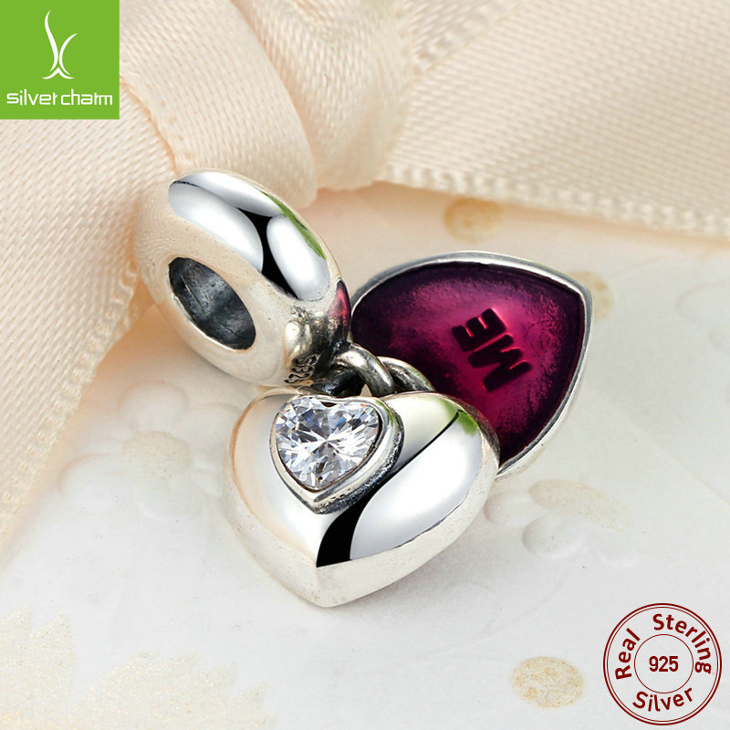 100% 925 Sterling Silver You & Me Heart Love Charm Beads With Clear CZ Fit Original Pandora Bracelet Authentic Fine Jewelry(China (Mainland))
