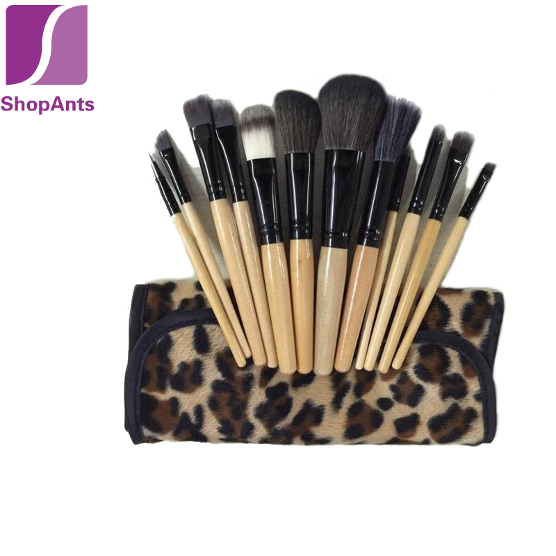Hot Sale 12 Pieces/Lot Professional Beauty Makeup Brushes Tools Soft Cosmetic Makeup Brush Set Kit Pouch Leopard Bag Case(China (Mainland))