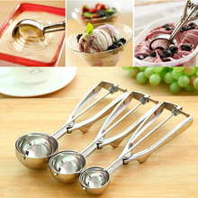 New Kitchen Ice Cream Mash Potato Scoop Stainless Steel Spoon Spring Handle Kitchen Accessories Wholesale 3 size for choose