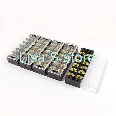 5 Pcs 600V 45A 6 Positions 6P Double Rows Covered Barrier Screw Terminal Block