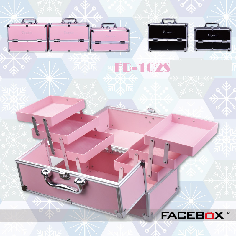6 Type Facebox Fashion Aluminum Cosmetic Case Beauty Box with Inner Tray Professional makeup box Black and pink color(China (Mainland))