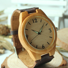 2015 New Arrival Men Wooden Wristwatch Hand craft Watch Luminous Hands with Genuine Leather Strap RT004