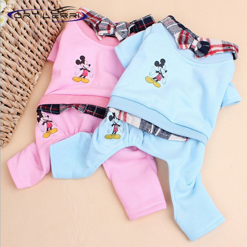 Free Shipping Pet clothes M, L, XL, XXL sized dog small Mickey leave two legs in plaid fleece sweater a tie(China (Mainland))