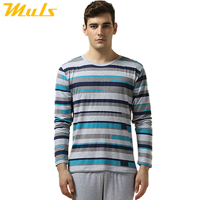 On sale pajamas men casual modal striped pijama masculino in Gray blue red winter men's pajamas long sleeve pajamas for men 1346