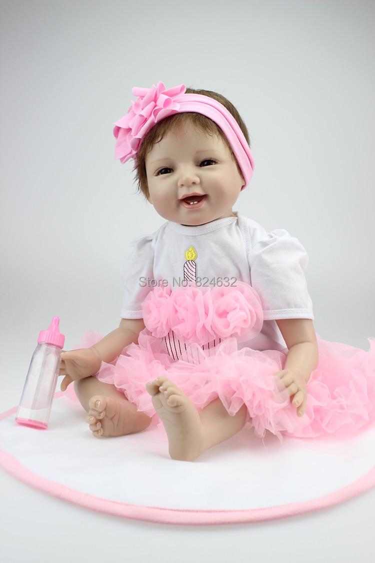 Fashion 22 Inch Silicone Vinyl Baby Dolls Reborn Handmade lifelike baby  Princess Dolls Toys For Children Birthday Gift boneca<br><br>Aliexpress