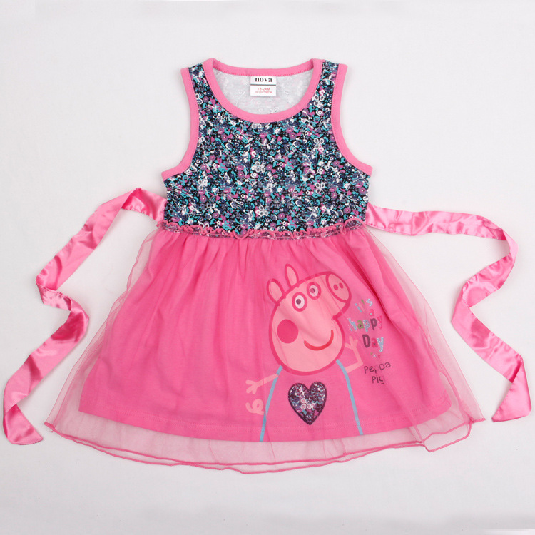 Free shipping fashion summer kids wear baby girl dress Nova 2015 cotton sleeveless lace girl dress Peppa dress with belt H4680#(China (Mainland))