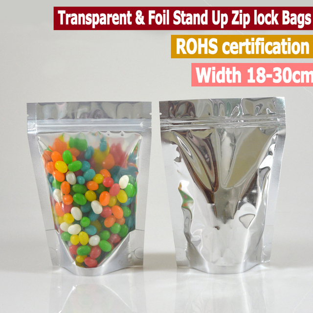 50pc Large Size Clear And Aluminumized Stand Up Zip lock Bags For Food Snack Standing Zip lock Pouches  Width From 18 to 30cm