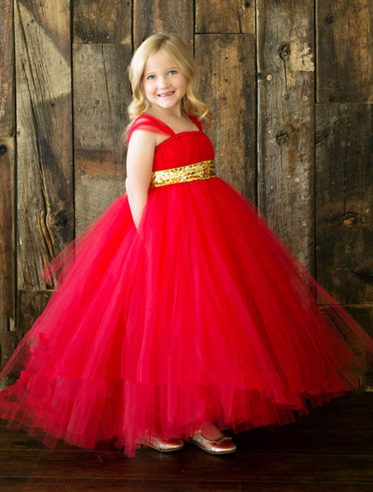 red golden sash tutu baby bridesmaid flower girl wedding dress tulle fluffy ball gown birthday evening prom cloth party kids - Zhejiang Saia Dress Factory store