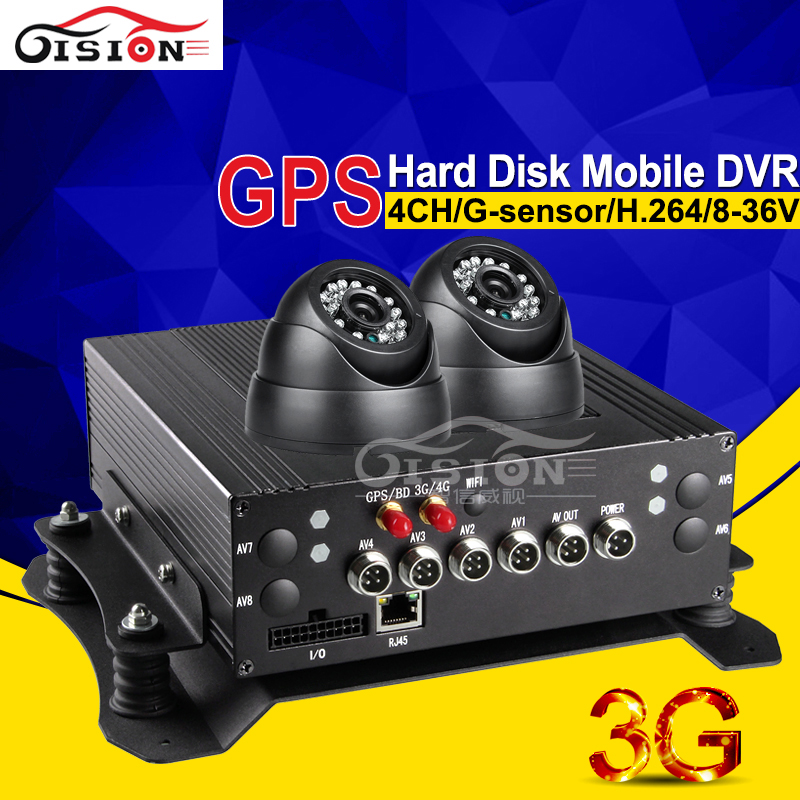 3G Mobile Dvr GPS Car Dvr 4CH Full D1 HD Real Time Surveillance Truck Dvr Kits With 2Pcs Camera Night Vision Monitoring System(China (Mainland))
