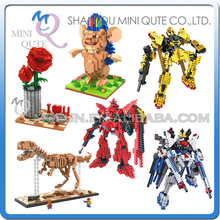 Mini Qute LOZ Gundam Robot dinosaur SPINY LIFE Jurassic Park Rose plastic building block action figures model educational toy - WTOYW METAL PUZZLE & PLASTIC BLOCKS WORLD store