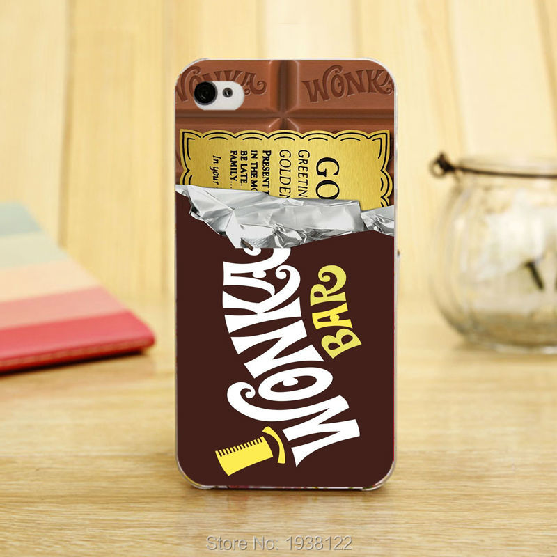 New Willy Wonka Bar With Golden Ticket hard Transparent Clear Skin Case for iphone 5 5s 4 4g 4S 5c Retail(China (Mainland))