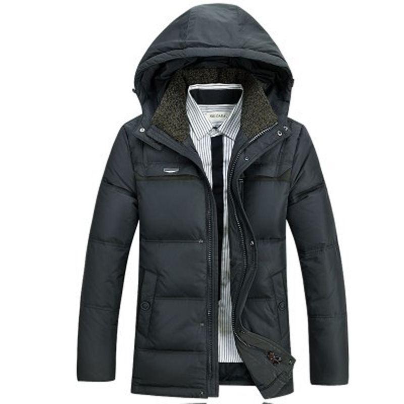 Fashion New Warm Duck Down Jacket Men Solid Hooded Winter Coat Men Single Breasted Zipper Parkas