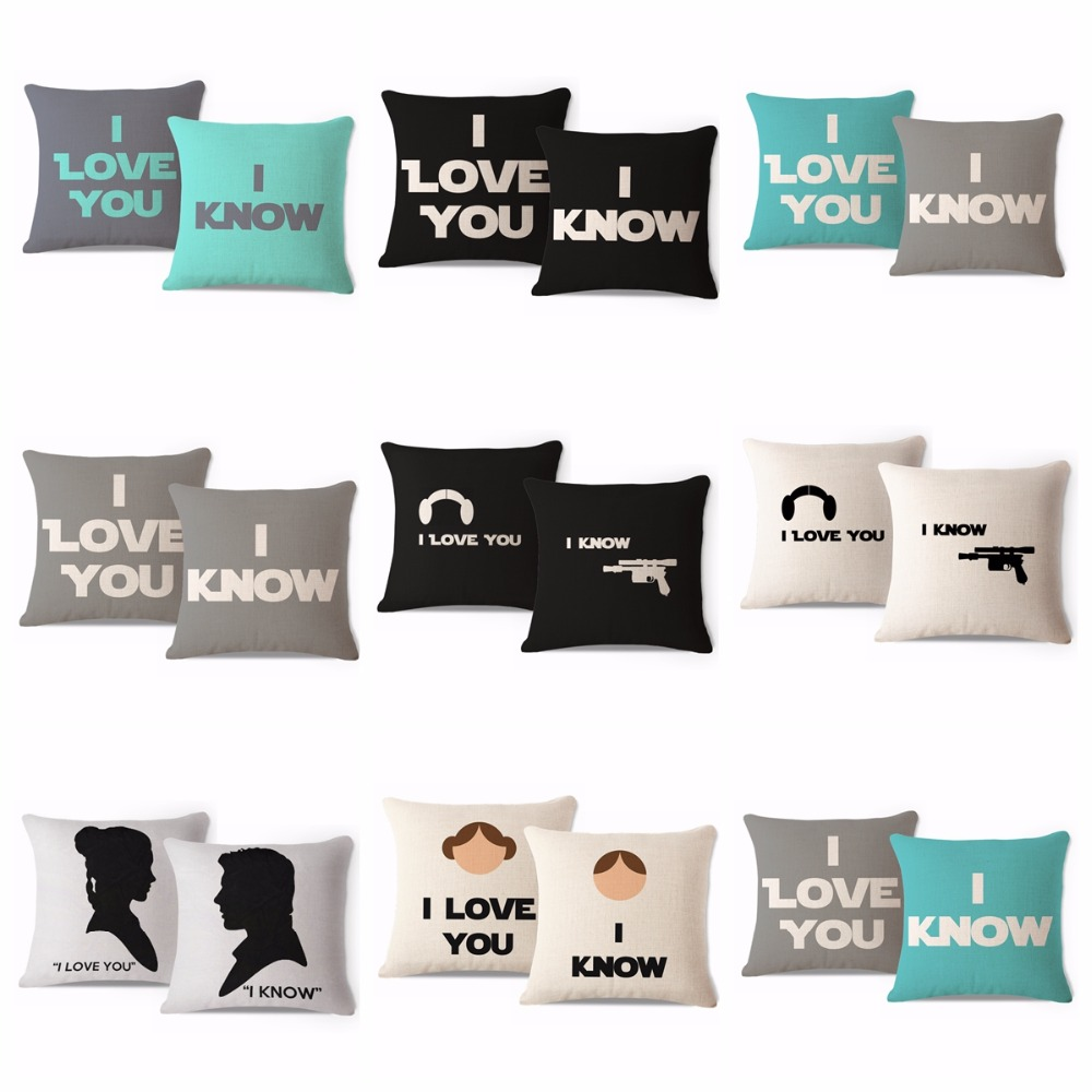 Set of 2Pcs Decorative Throw Pillow Case His and Her Star Wars Leia Han Love Script Gift HEAVY WEIGHT FABRIC Cushion Cover 45cm(China (Mainland))