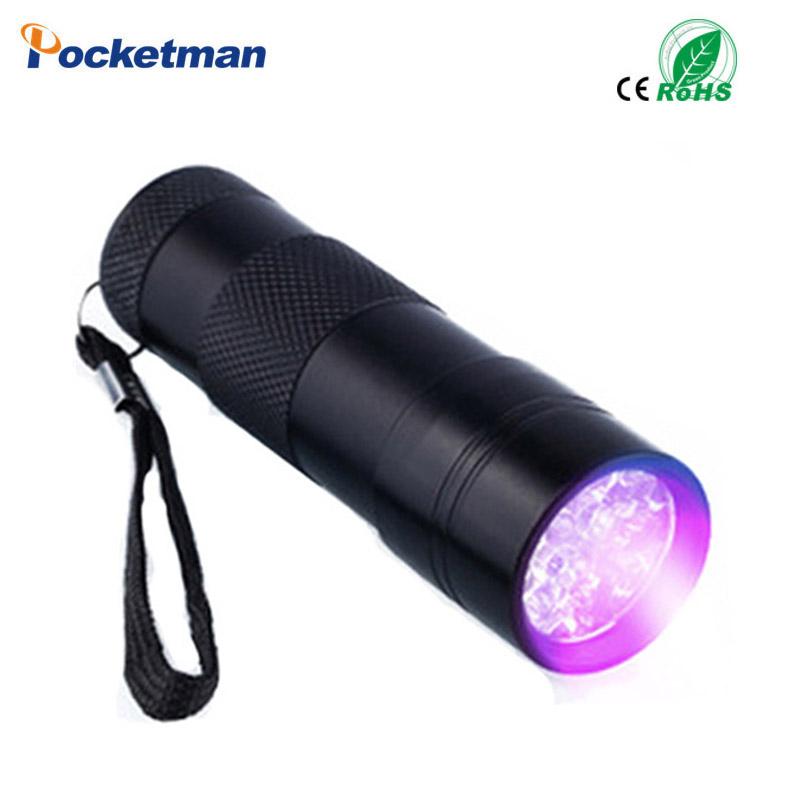 Mini Portable UV Flashlight Violet Light 9 LED UV Torch Light Lamp Flashlight Free Shipping