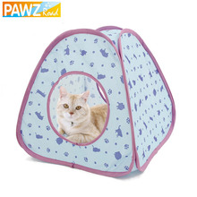 Pawz Road  New Lovely Cat Tunnel Pet Toy of Cat Pattern More Fun Blue Color Tent Easy House for Pet Fashion Small Dog Beds(China (Mainland))