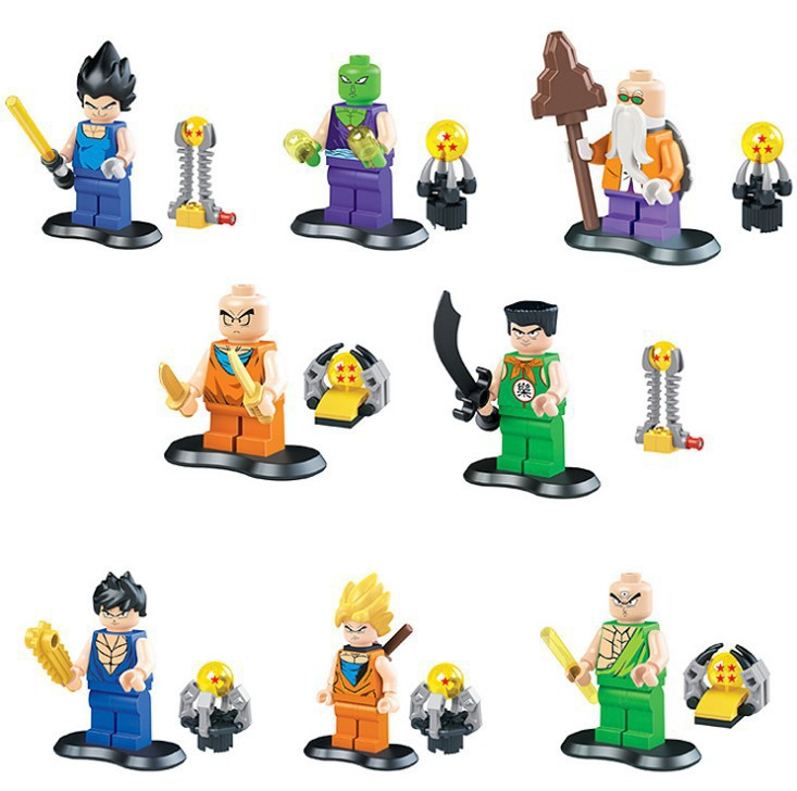 LELE 78045 15Lot Building Blocks Super Heroes Minifigures Dragon Ball Z Wu Kong Gohan Action Mini Figure Toys Children