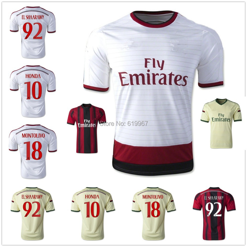 Soccer shirt uniforms HONDA 2015 AC thaiquality AC Milan away home 14/15 football shirt kelme official mens soccer jerseys soccer training suits paintless football jerseys custom football kits uniforms soccer set 63