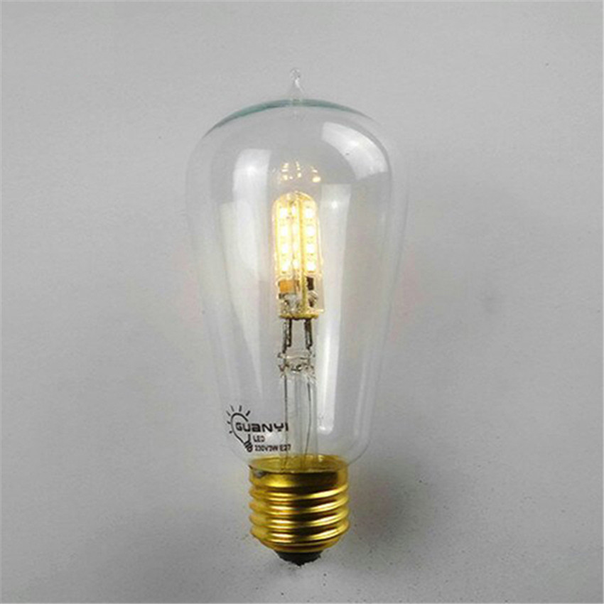 4pcs/lot 2014 New led bulb 110V 220V E27 3W Edison bulb 3528 SMD Warm white LED chandelier Light Edison light bulb(China (Mainland))