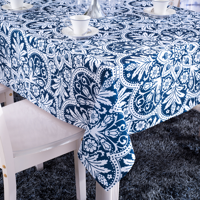 Print Floral Table Cloth Blue Rectangular Table Cover Party Tablecloth Table Covers For Wedding Home Textiles Free Shipping(China (Mainland))